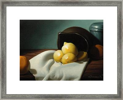 Still Life Painting Three Beauties Framed Print by Eric Bossik