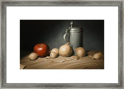 Still Life Painting With Onions Framed Print by Eric Bossik