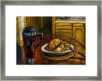 Still Life Pancakes And Coffee Painting Framed Print by Natalja Picugina