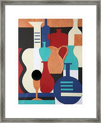 Still Life Paper Collage Of Wine Glasses Bottles And Musical Instruments Framed Print by Mal Bray