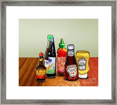 Still Life - Sauces And Condiments Collage Framed Print