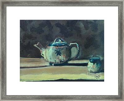Still Life Teapot And Sugar Bowl Framed Print