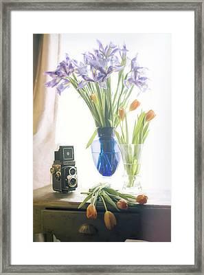 Still Life - Tulips Irises And Camera Framed Print