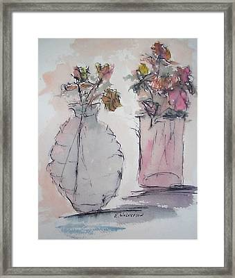 Still Life- Vase With Flowers Framed Print by Edward Wolverton