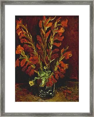Still Life. Vase With Gladioli Framed Print by Vincent van Gogh