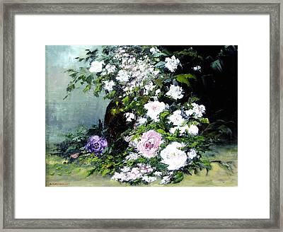 Still Life W/flowers Framed Print