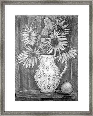 Still Life - White Pitcher With 5 Sunflowers Framed Print