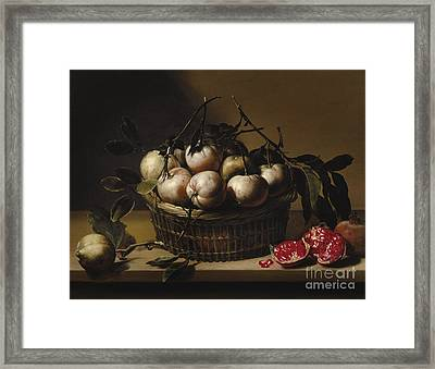 Still Life With A Basket Framed Print