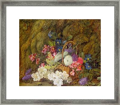 Still Life With A Basket Of Flowers Framed Print