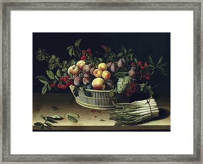 Still Life With A Basket Of Fruit And A Bunch Of Asparagus Framed Print by Louise Moillon