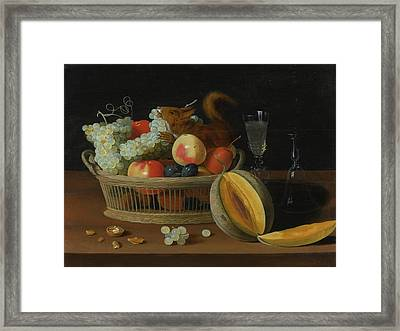 Still Life With A Basket Of Fruit And A Squirrel Framed Print