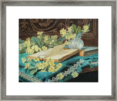 Still Life With A Book And Flowers Framed Print