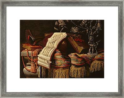 Still Life With A Book Of Sheet Music Framed Print