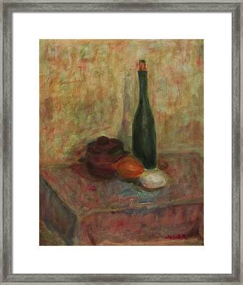 Still Life With A Bottle Of Wine Framed Print by Jacob R