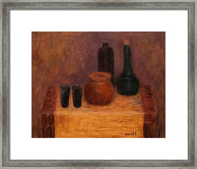 Still Life With A Bottles Framed Print by Jacob R
