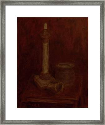 Still Life With A Chandelier, Pot And Cup Framed Print by Jacob R