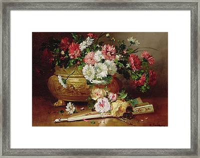 Still Life With A Fan Framed Print by Eugene Henri Cauchois