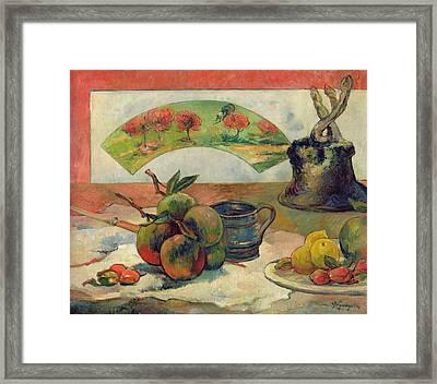 Still Life With A Fan Framed Print by Paul Gauguin