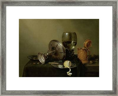Still Life With A Gilded Beer Tankard Framed Print by Willem Claesz Heda