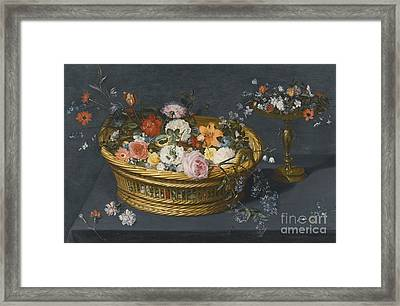 Still Life With A Gilt Tazza And A Basket Filled With Flowers Framed Print