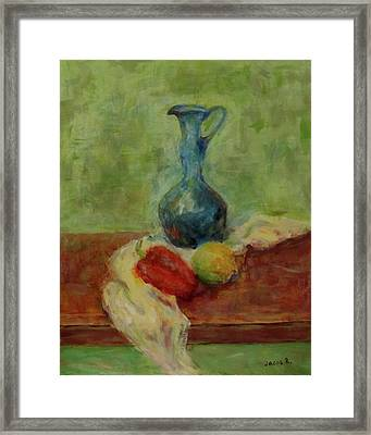 Still Life With A Jug Framed Print by Jacob R