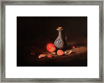 Still Life With A Little Dutch Jug Framed Print by Barry Williamson