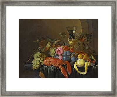 Still Life With A Lobster Framed Print by Cornelis de Heem