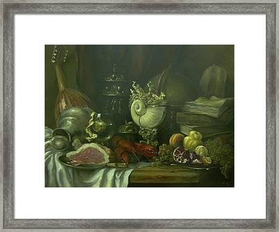 Still-life With A Lobster Framed Print by Tigran Ghulyan