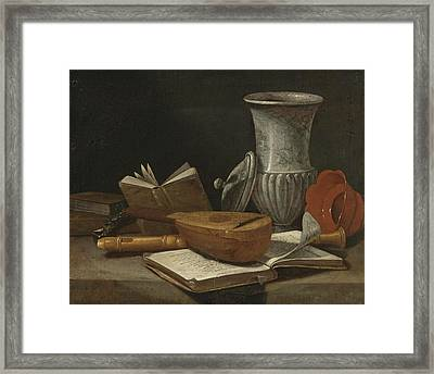 Still Life With A Lute A Recorder Books A Marble Covered Vase And Other Objects Resting On A Table Framed Print
