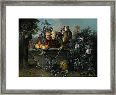 Still Life With A Monkey And A Basket Of Fruit Resting On A Ledge Framed Print