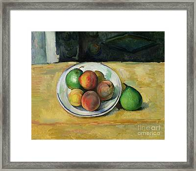 Still Life With A Peach And Two Green Pears Framed Print