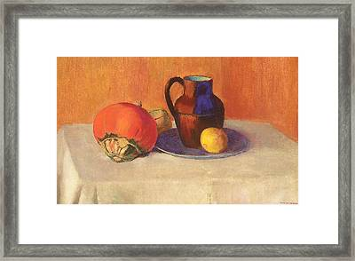 Still Life With A Pitcher Framed Print by Odilon Redon