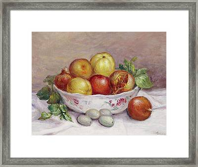 Still Life With A Pomegranate Framed Print by Pierre Auguste Renoir