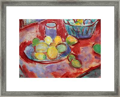 Still Life With A Red Cloth Framed Print by Andrey Semionov