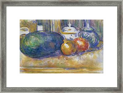 Still Life With A Watermelon And Pomegranates Framed Print by Paul Cezanne