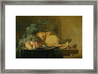 Still Life With A Whole And A Halved Peach On A Pewter Plate, Together With Grapes Framed Print by Jan Davidsz