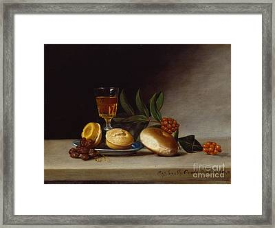 Still Life With A Wine Glass Framed Print by Raphaelle Peale