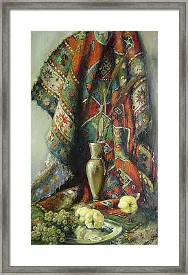 Still-life With An Old Rug Framed Print