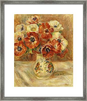 Still Life With Anemones  Framed Print by Pierre Auguste Renoir