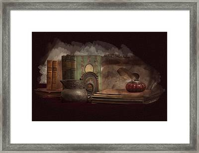 Still Life With Antique Books, Silver Pitcher And Inkwell Framed Print