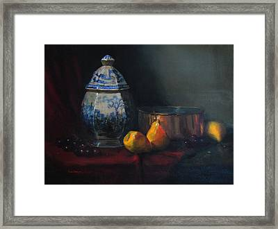 Still Life With Antique Dutch Vase Framed Print by Barry Williamson