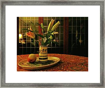 Framed Print featuring the photograph Still Life With Apple by Anne Kotan