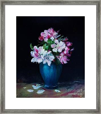 Still Life With Apple Tree Flowers In A Blue Vase Framed Print