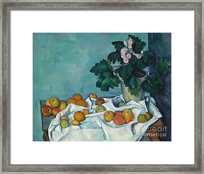 Still Life With Apples And A Pot Of Primroses, 1890 Framed Print by Claude Monet