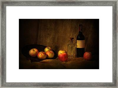 Still Life With Apples And Bottles Framed Print