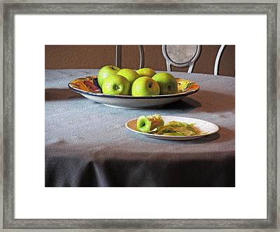 Still Life With Apples And Chair Framed Print