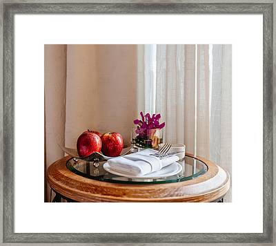 Still Life With Apples And Cutlery On The Table Framed Print by Sergey Nosov