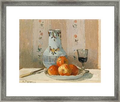 Still Life With Apples And Pitcher, 1872  Framed Print by Camille Pissarro