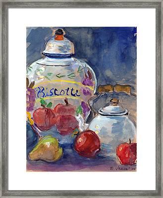 Still Life With Apples And Tea Kettle Framed Print by Ethel Vrana