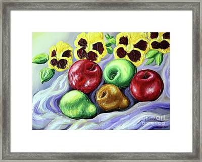 Framed Print featuring the painting Still Life With Apples by Inese Poga